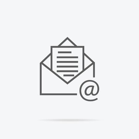 Enveloppe ligne de conception ouverte mince. icône Lettre mail. Email logo. Vector illustration