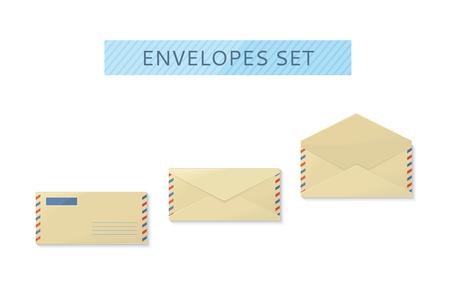 envelopes: Envelope set open and close design flat. Letter mail template, yellow envelope, invitation envelope, open or close envelope vector illustration