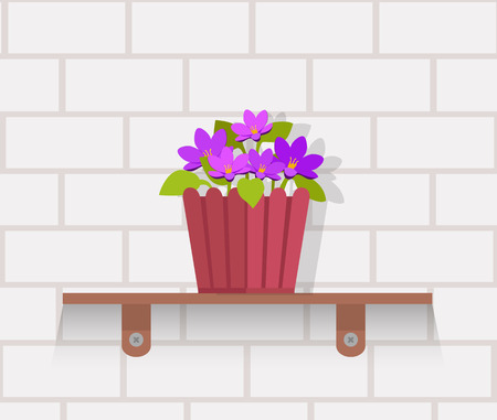 indoor garden: Houseplant design flat concept. House plant pot isolated, indoor plants flower and green nature, leaf and pot, gardening growth vector illustration. Vase with flowers on shelf against wall of brick