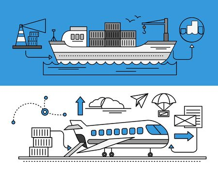freight forwarding: Concept of Freight Forwarding by sea and by air. Transport delivery, shipping import industry, distribution and logistic, export railway transportation. Set of thin, lines, outline flat icons
