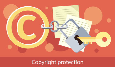 Copyright protection design flat. Copyright and protection, intellectual property symbol, patent and copyright law, piracy business, law property, secure mark license vector illustration Çizim