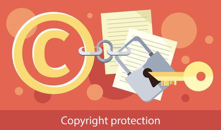 Los derechos de autor protección de los diseños plana. Los derechos de autor y la protección, símbolo de la propiedad intelectual, patentes y derecho de autor, la piratería comercial, Derecho de propiedad, marca seguro ilustración vectorial de licencia