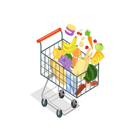 Het winkelen karretje producten eten. Pictogram van het boodschappenwagentje, supermarkt en voedsel, product kruidenier en boodschappenwagentje, plantaardige vector illustratie