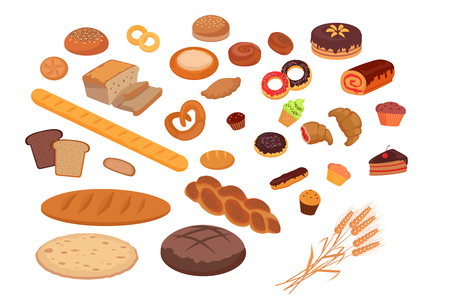bread roll: Bakery products set flat design. Bread and bakery shop, cake and baking, pastry cupcake products, roll and donut, product food bakery, breakfast vector illustration Illustration