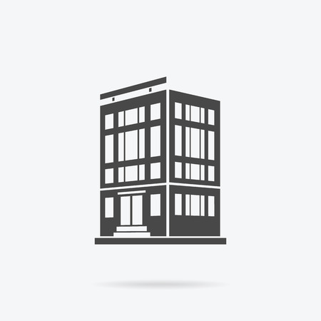 house logo: Skyscraper logo building icon. Black building and isolated skyscraper, tower and office city architecture, house business building logo, apartment office vector illustration