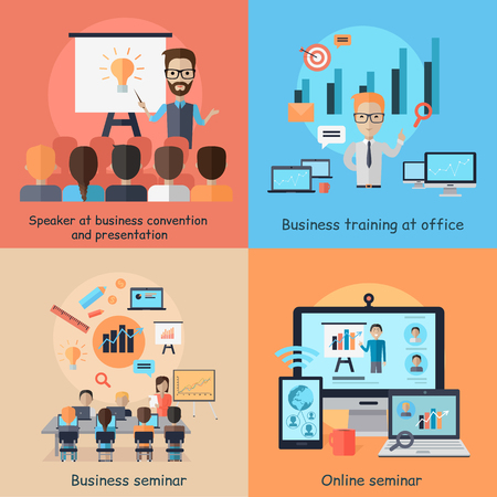 Business online seminar banner concept. Set of banners speaker at business convetion and presentation, business training office and training and web study course tutorial. Vector illustration Ilustracja