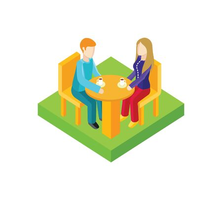 romance love: Couple date in cafe isometric design. Couple in cafe, date man and woman, love people, romantic lover, valentine togetherness, isometric date man and woman. Coffee and romance. Vector illustration