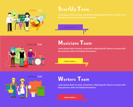 construction team: Startup business team people group flat style. Workers team people group flat style. Work and construction worker. Musicians team. Music and singer, artist and musical instruments