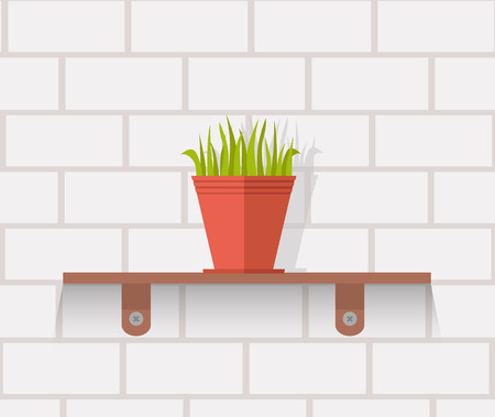 indoors: Houseplant design flat concept. House plant pot isolated, indoor plants flower and green nature, leaf and pot, gardening growth vector illustration. Vase with flowers on shelf against wall of brick