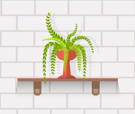 houseplant: Houseplant design flat concept. House plant pot isolated, indoor plants flower and green nature, leaf and pot, gardening growth vector illustration. Vase with flowers on shelf against wall of brick