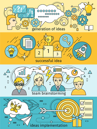 implementation: Generation of ideas banners set. Brainstorming team implementation idea banner, teamwork get successful achievement of startup, business inspiration with creativity innovation. Vector illustration