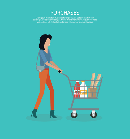 consumer goods: Woman with cart purchases design. Shop cart customer woman buy purchase, trolley with purchase, consumer with goods, food product in cart, buyer woman, shopper vector illustration Illustration
