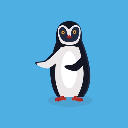 pinguin: Animal penguin design flat. Bird penguin vector, cartoon polar animal winter isolated, wild penguin character illustration Illustration