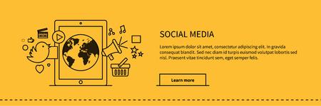 webpage: Social media web page design flat. Social network media marketing, blog web page, internet technology business, webpage content, website communication vector illustration