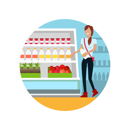 shoppers: People in supermarket interior design. People shopping, supermarket shopping, marketing people, market shop interior, customer in mall, retail store vector illustration