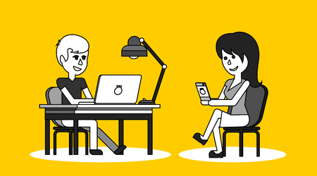 business woman with tablet: People work in office design flat. Business woman and man, computer worker, Office desk table and workplace. Guy girl sitting on chair at table in front of computer laptop monitor and shining lamp Illustration