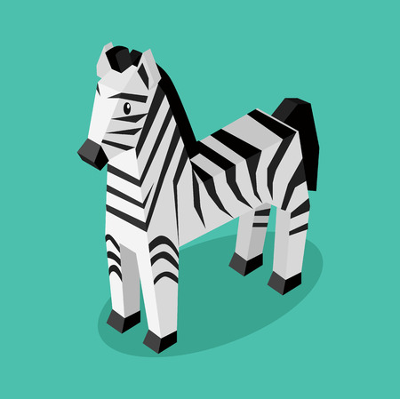 rare animals: Isomeric animal zebra isolated. Beautiful animals in an isometric style of a 3d zebra with a striped pattern isolated on background, rare unusual creature standing a single. Vector illustration Illustration