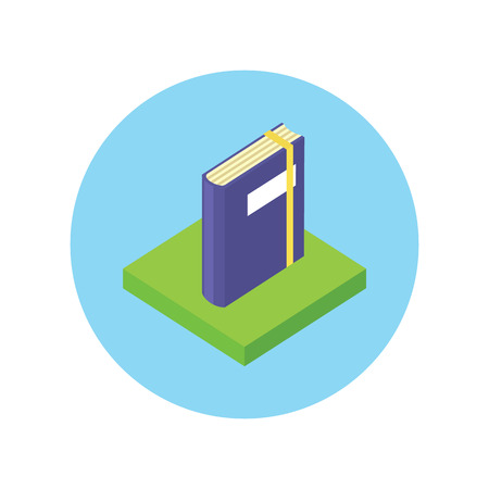 novel: Isometric book logo icon flat style design. 3d Book logo. New book cover, modern book, novel and book store, library and book spine, paper and information, literature education vector illustration