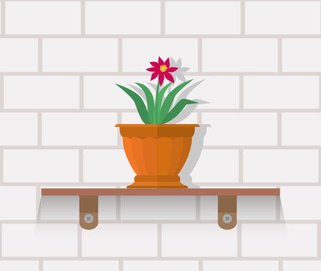 diseño de planta de interior concepto plana. pote de la planta de la casa aislada, plantas de interior de la flor y de la naturaleza verde, hoja y la olla, jardinería ilustración vectorial crecimiento. Jarrón con flores en el estante contra la pared de ladrillo