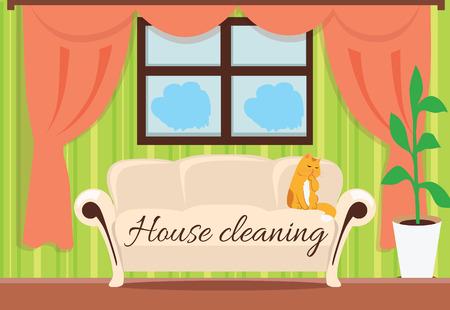 servicio domestico: Limpieza de la casa. La gata sobre el sofá de diseño plana. Casa y limpieza, servicio de limpieza, limpiar la casa, casa de servicio de limpieza, las tareas del hogar y el hogar de limpieza, servicio de limpieza doméstica, ilustración de sala limpia