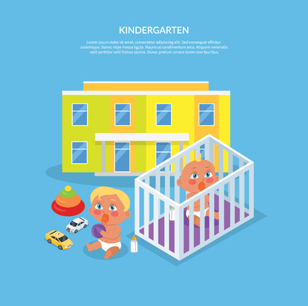child boy: Kindergarten design flat banner. Preschool kids and kindergarten kids, kid education, girl and boy, child play, people preschooler, cartoon childhood, vector illustration