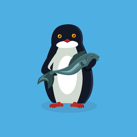 pinguin: Animal penguin design flat. Bird penguin vector, cartoon polar animal winter isolated, wild penguin character with a fish illustration