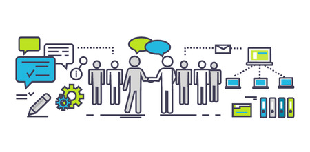 corporate team: Flat icon concept of business partnership. Partner and teamwork, team people, cooperation and contract, deal handshake, professional corporate agreement illustration. Partner thin line ouyline icons Illustration