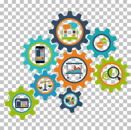 Concepto de procesos de negocio de interconexión, diseño abstracto del mecanismo de rueda dentada de dispositivos modernos
