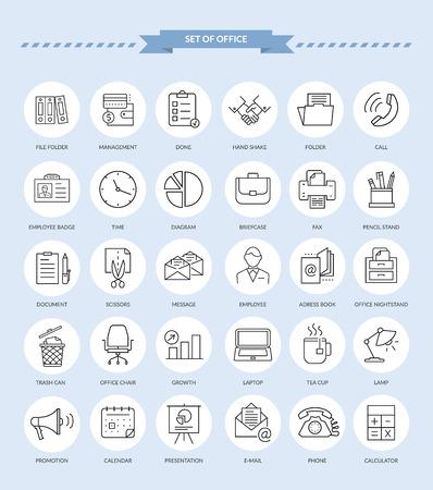 articulos de oficina: Conjunto de, l�neas, art�culos de oficina contorno iconos delgadas. ooffice iconos, icono empresarial, iconos de negocio oficina, conjunto de iconos web, negocios y finanzas, oficinas y negocios. Interfaz de iconos de vectores Vectores