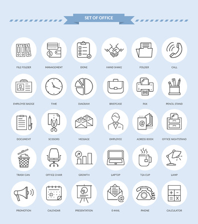 Set of thin, lines, outline office items icons. Ooffice icons, business icon set, office business icons, web icon set, business and finance, office and business. Interface vector icon Illustration