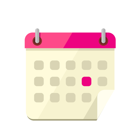Calendar app icon flat style design. Calendar icon page, monthly calendar, date and time, web organizer application, button organize today vector illustration Illustration