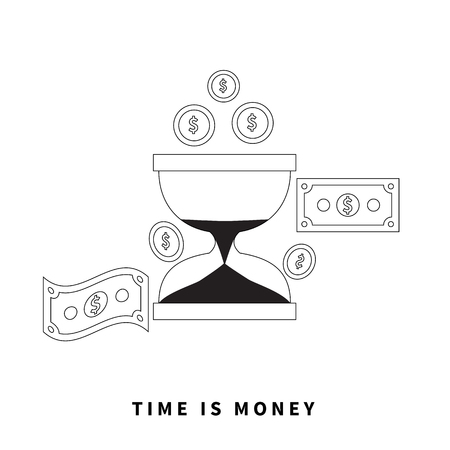 monetary concept: Time is money concept. Hourglass coins. Business currency and clock, dollar saving, watch and cash, sandwatch and monetary. Time management vector illustration. Black thin line on background