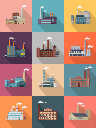 power industry: Set of building plant or industrial factory. Building big set of plant and factory of industry power or refinery, industrial energy power construction plant with pipe smoke. Vector illustration Illustration