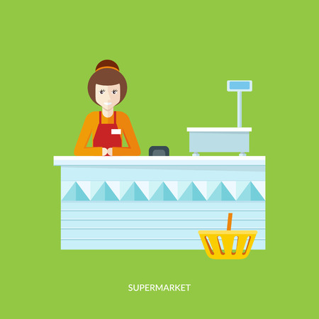 shopping people: People in supermarket interior design. People shopping, supermarket shopping, marketing people, market shop interior, customer in mall, retail store vector illustration