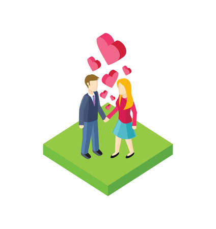 walk: Isometric couple walk design flat. 3d people outdoor, together couple man and woman, young people walk, adult woman walking, friendship lover pair, walkway rest vector illustration Illustration
