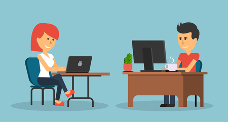 business woman with tablet: People work in office design flat. Business woman and man, computer worker, Office desk table and workplace. Guy girl sitting on chair at table in front of computer laptop monitor