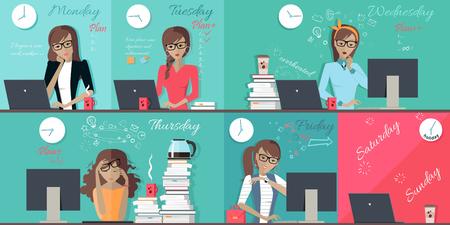 Mujer plan de trabajo diseño de la semana plana. Conjunto de imágenes de cada jornada de trabajo de lunes a viernes, mujer empleado de oficina. Ilustración de horas de trabajo, horario de trabajo ocupado todos los días del vector mujer de negocios la semana
