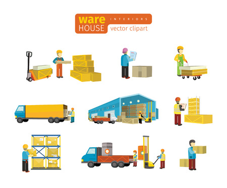 warehouse interior: Set of equipment delivery process of the warehouse. Interior logisti and factory, warehouse building exterior, business delivery, storage cargo vector illustration