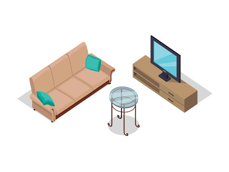 furniture detail: Sofa and TV on table isometric design. Furniture isometric interior sofa and tv, room living furniture, house furniture, 3d domestic furniture and detail model vector illustration