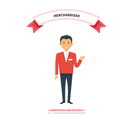 retail shopping: Merchandiser man competence and decency. Merchandiser decency and competence, marketing retail, shopping and promotion, merchandise man, guy merchandiser, business merchandiser store illustration