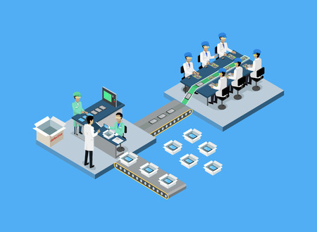 factory: Production tablet or smartphone 3d isometric. Production line, manufacturing and factory, smartphone and tablet, mobile phone, process production, conveyor electronic industrial illustration
