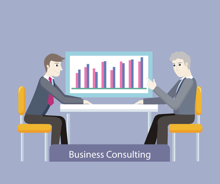 Business consulting. People on negotiations. Two businessman sitting on the chairs at the negotiating table and discussing business graph or chart, consultation in the office. Vector illustration