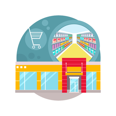 mall interior: Supermarket interior design. People shopping, supermarket shopping, marketing market shop interior, customer in mall, retail store vector illustration Illustration