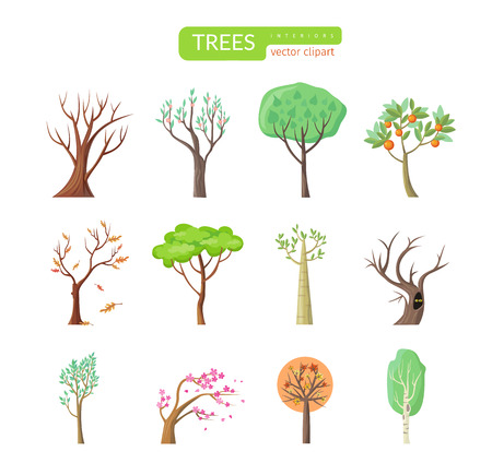 tree fruit: Set of isolated trees design flat. Tree forest, leaf tree vector isolated, tree branch nature green, plant eco branch tree, organic natural wood  illustration Illustration