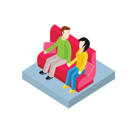 love icon: Couple on bench isometric design. Couple man and woman, love people together romantic, girlfriend and boyfriend, lover sitting, young two valentine, togetherness vector illustration Illustration