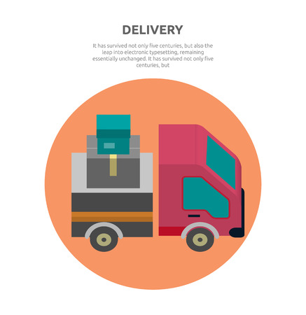 fast auto: Delivery lorry driving fast design. Deliver auto, car and delivery van, truck lorry icon, shipping business, cargo vehicle transport, service transportation vector illustration