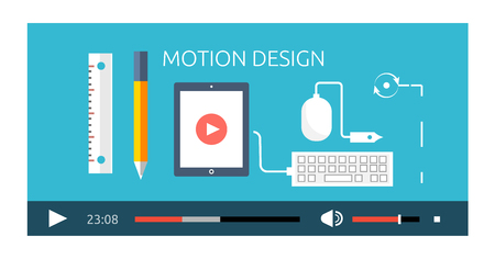 film industry: Motion design video play production. Motion and design, play video, movie film motion, production industry design motion, media multimedia, digital design motion, show motion design illustration