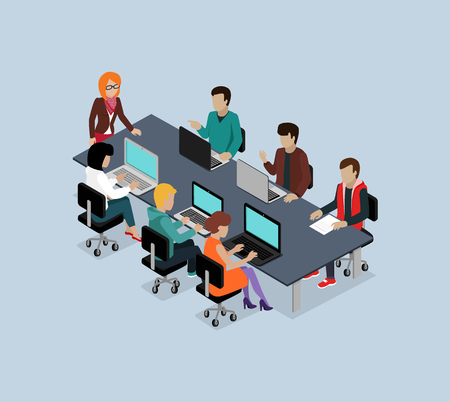 office computer: Teamwork 3d isometric business team. Teamwork and teamwork concept, working together, collaboration and business teamwork, leadership and 3d team, work people, businessman illustration Illustration