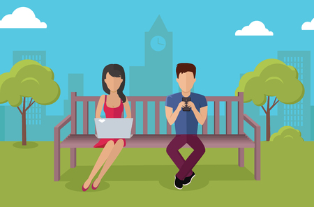 Internet addiction disorder technology. People man and woman game smartphone in park, web addict, internet dependence, technology mobile addiction, social web addiction vector illustration Illustration