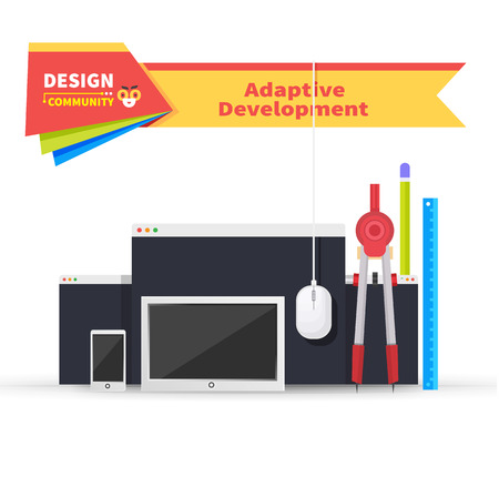 adaptive: Adaptive development tablet and paint tools. Adaptive web development, website and technology, adaptive page device, tool mobile, drawing and monitor site, smartphone webpage, tablet illustration